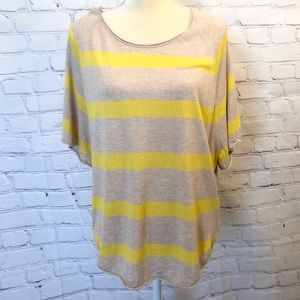 Loft yellow and tan striped loose fitting blouse